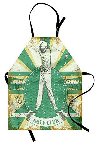 Lunarable Vintage Apron, Retro Poster Print Man Playing Golf Golf Club Quote on Grunge Background, Unisex Kitchen Bib Apron with Adjustable Neck for Cooking Baking Gardening, Green Yellow Beige - Grunge Bib