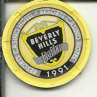 ($1 resorts international where it all began 1991 beverly hills buffet vintage casino chip atlantic city new jersey)