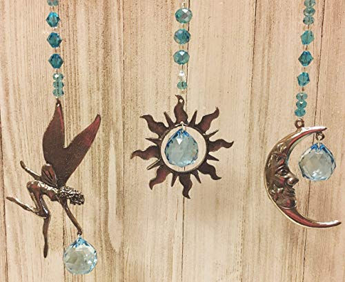 Rear View Mirror Crystal Car Charm Sun Catchers, Pewter Moon, Fairy or Sun Window Sun Catchers with Turquoise Crystals Window Ornament, Turquoise Crystal Ball Prism Suncatcher,Feng Shui Rainbow - Mirror Fairy Hanging
