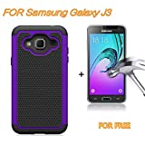 J3 Case, Express Prime Case, Amp Prime Case, SAUS Hybrid Dual Layer Armor Shock Absorption Defender Bumper Protective Case With FREE tempered glass screen protector For Samsung Galaxy J3 (Purple)
