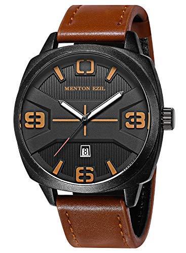 Menton Ezil Mens Watches Sapphire Crystal Leather Band 50M Waterproof Classic Dress Analog Quartz Wrist Watch -