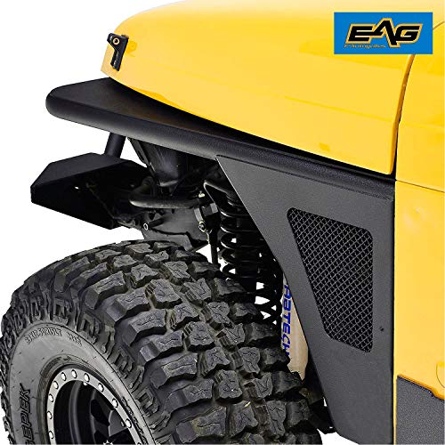 EAG Front Fender Flare Rocker Guard Tubular with Eagle Light Fit for 97-06 Jeep Wrangler TJ