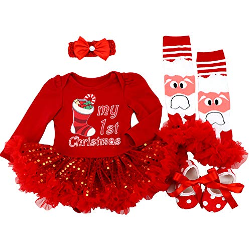 BabyPreg Baby Girls My First Christmas Santa Costume Party Dress 4PCS (Socks Red Long, S for 3-6 Months)