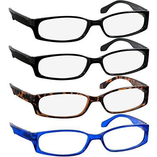Reading Glasses 2.75 2 Black Tortoise Blue (4 Pack) F503 TruVision