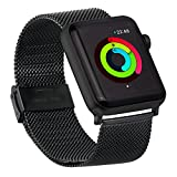 AUTULET Compatilbe with Comfortable Apple Watch Band Mesh Stainless Steel for Apple Watch Strap iWatch Bands Black 38/42 mm