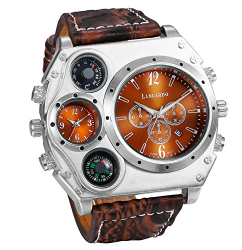 Men's Military Steampunk Dual Time Zone Four Dial Big Face Watches Japan Quartz Calendar with Decorative Compass Thermometer Brown Leather -