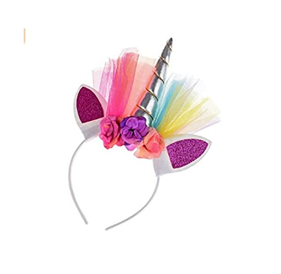 Amazon.com  Rainbow Silver Unicorn Headband Accessory for Young Girls 151945036870