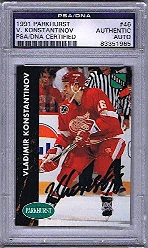 VLADIMIR KONSTANTINOV Signed 1991 PARKHURST ROOKIE CARD #46 AUTO - PSA/DNA Certified - Autographed Hockey Cards -