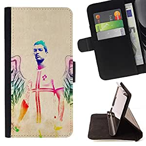 DEVIL CASE - FOR Samsung Galaxy Note 4 IV - Neon Angel Nurse - Style PU Leather Case Wallet Flip Stand Flap Closure Cover