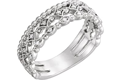 751bd2827f7 Diamond Stacking Ring, Rhodium-Plated 14k White Gold (.11 Ctw, G-H Color,  I1 Clarity)