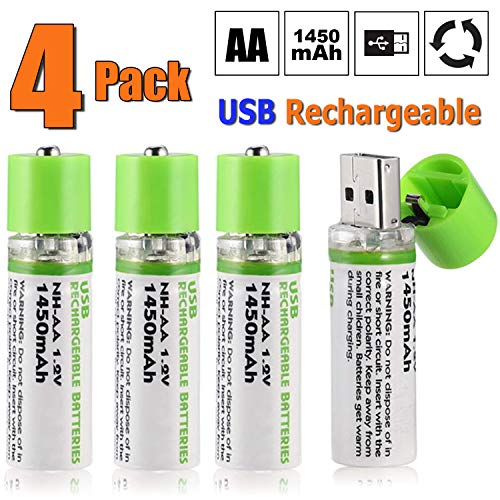 (SUUKAA AA Batteries, 4 Pack Rechargeable AA Batteries High Capacity with USB Charging Port, 1.2V 1450mAh NiMH Long Lasting Double A Batteries for Toy Cars Remote Controller, FC CE ROHS Certificate)