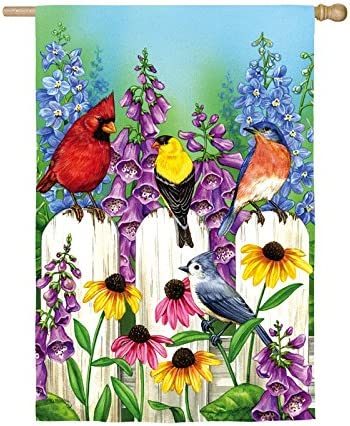 Evergreen Birds On Fence Outdoor Safe Double Sided Satin House Flag 29 X 43 Inches Garden Outdoor