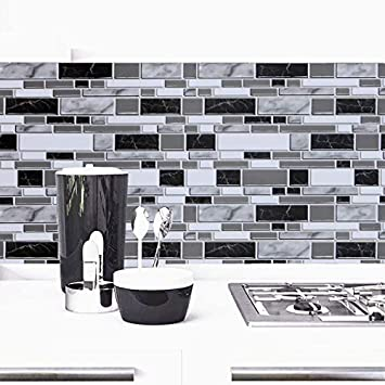 Black And White Peel And Stick Wallpaper For Kitchen 11 8inch X 196 8inch Kitchen Wallpaper Bathroom Self Adhesive Wall Paper Waterproof Countertop Removable Wallpaper Backsplash Vinyl Film Decoration Amazon Com