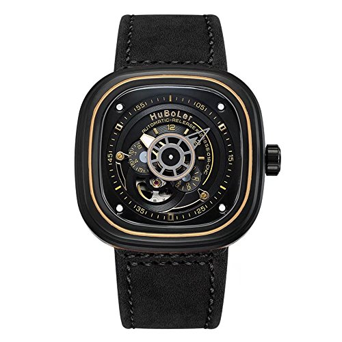 Edition Mens Skeleton Limited (HUBOLER 200 PIECES CLASSIC LIMITED EDITION Top Quality Mechanical Movement men's watch (black 3))