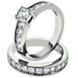 3.25 Ct Cubic Zirconia Stainless Steel 316 Engagement Wedding Ring Set Size 5