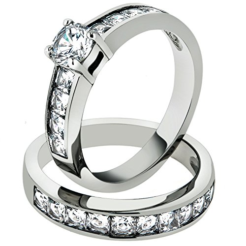 3.25 Ct Cubic Zirconia Stainless Steel 316 Engagement Wedding Ring Set Size - Cubic Gents Zirconia Set