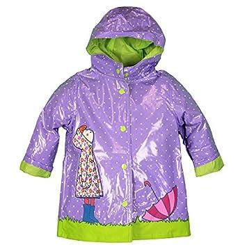 fa0e8542cc2c0 Amazon.com   Wippette Toddler-Girls Green Lined Waterproof Purple Polka-Dot  Raincoat 3T Size  3T Color  Purple Model  (Newborn