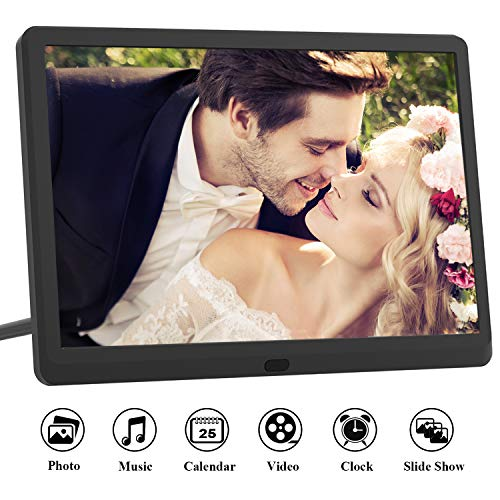 Digital Picture Frame 10 Inch (16:9) IPS 1920 * 1080 resolution display, Free 32GB SD Card, Preview Function, Auto-Rotate, Delete Picture Remote Control, Photo/Music/Video Support, Black