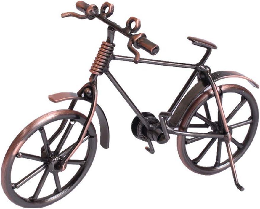Bicicleta de metal vintage, adornos de bicicleta hechos a mano clásicos retro de metal artesanía de escritorio estatuillas de bicicleta de hierro decoración de hogar en miniatura de bicicleta
