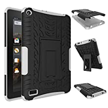 Fire 7 inch Case,YiLin [White] [Shock Absorbent] Premium Dual Layer Defender Protective Rugged Cover with Kickstand for Amazon Fire 7'' Tablet 2015 Version