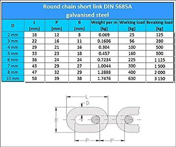 5m round steel chain short link galvanised 3mm