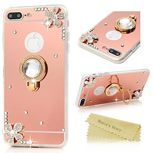 Acrylic Glitter Ring - iPhone 7 Plus Case, iPhone 8 Plus Case (5.5), Mavis's Diary 3D Handmade Diamonds Flower Mirror Acrylic Back Cover with Shockproof Soft TPU Frame with Glitter Gems 360 Degree Rotating Ring Stand Holder