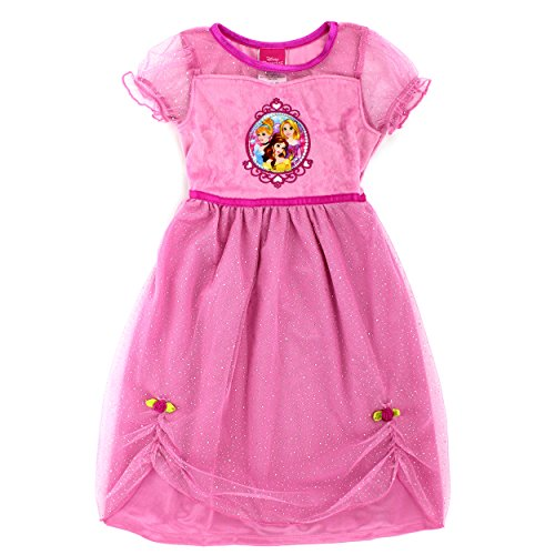 [Disney Princess Girls Fantasy Nightgown Pajamas (2T, Cinderella Belle & Rapunzel Pink)] (Toddler And Girls Aurora Princess Costumes)