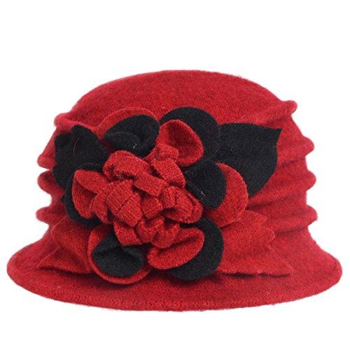 Women's Wool Dress Church Cloche Hat Bucket Winter Floral Hat (Red)