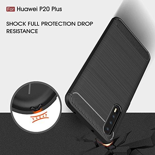 Huawei P20 Plus Funda,cubierta ultra delgada de la carcasa [Durable] [a prueba de golpes] Protección Máxima contra golpes para Huawei P20 Plus(Azul) Negro