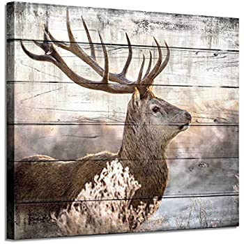 Deer Canvas Wall Art Print: Rustic Elk Artwork Painting Wall Decor for Living/Bedroom Room (24'' x 18'')