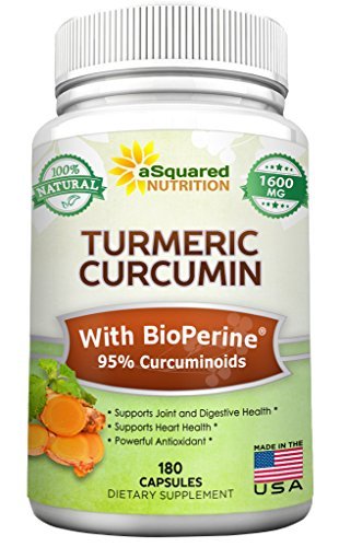 Pure Turmeric Curcumin 1600mg with BioPerine Black Pepper Extract - 180 Capsules - 95% Curcuminoids, 100% Natural Tumeric Root Powder Supplements, Natural Anti-Inflammatory Joint Pain Relief Pills