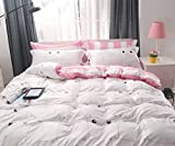 Ludan 3 Pieces cat Kids Bedding Duvet Cover Set Reversible Twin Full Queen King Teen Bedding Collections Set For Boys Girls Zipper Closure,Gifts for Friends (cat2, Full)