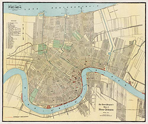 Historic Map Reproductions - Historic Map | ca. 1919 The Times-Picayune's map of New Orleans | Antique Vintage Reproduction