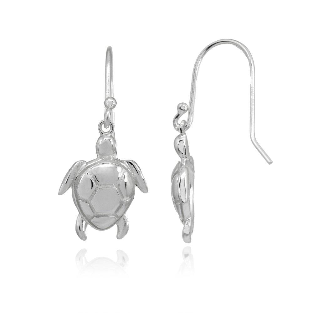 Sterling Silver Polished Animal Sea Turtle Dangle Earrings