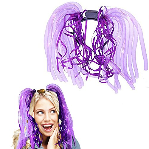 Light Up Hair - Toy Cubby LED Party Rave Disco Flashing Noodle Wig - Light Glowing Royal Purple Dreads. Ideal For Halloween, Dress Up Parties, Masquerades...And So Much More! Be Refined! -