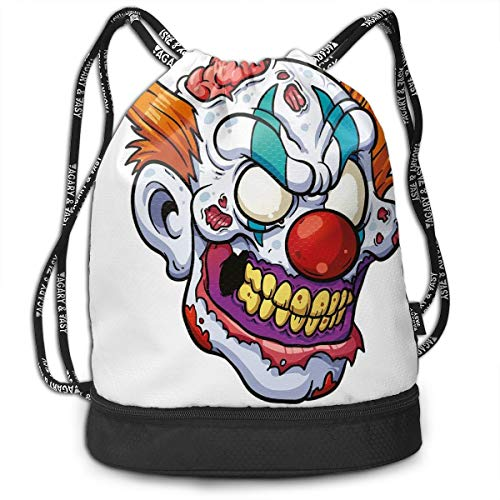 Drawstring Backpack bags, Zombie Clown Head In Cartoon Style Evil Monster With Scars Halloween Horror Mascot