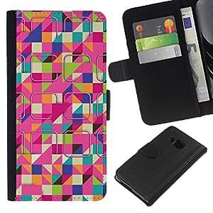 [Neutron-Star] Modelo colorido cuero de la carpeta del tirón del caso cubierta piel Holster Funda protecció Para HTC One M9 [Esquí modelo colorido rosa]