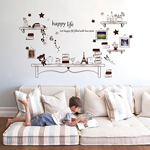 Ferris Store Creative Photo Frame Happy Life Desk PVC Removable Home Bedroom Background Wall Stickers Murals 531x315