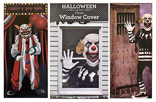 RDC 02 Creepy Carnival Scary Clown Halloween Decorations - Door and Window -