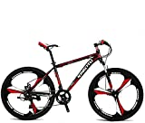 VTSP X3 MTB Mountain Bike Aluminum Frame 21-Speed 26-inch Bicycle Fork Suspension 3-Knife Double Disc Brakes Bicycle Aluminum Racing Bicycle Outdoor Cycling US Warehouse(red)
