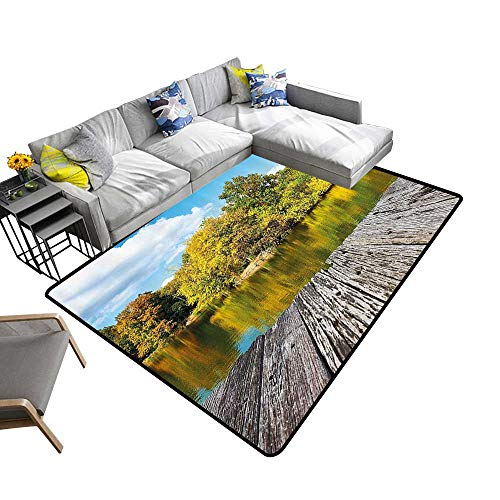 Landscape Area Silky Smooth Rugs New York City Central Park in a Autumn Day Near a Bay with River Mats Non Slip 5'x8'(W150cmxL240cm) Sky Blue Green and Cocoa