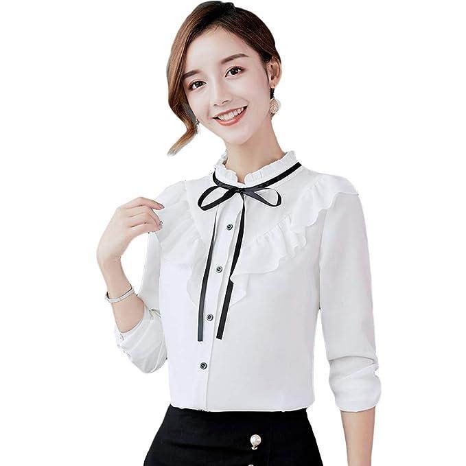 13979562ec93 XWDA Women's Chiffon Peter Pan Collar Short Long Sleeve Bowknot Button Shirt  Blouse: Amazon.ca: Clothing & Accessories
