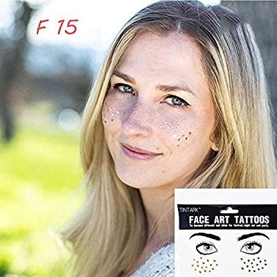 9008bc519c4e8 ZHUOTOP 1Sheet Personality Disposable Freckles Makeup Tattoo Stickers Flash  Body Art Gold Face Waterproof F15#