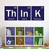 Think Wall Decal Periodic Table Decal Elements Vinyl Decal Science Decor For Living Room Kids Room Bedroom(Navy blue,xs)