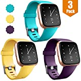 Maledan Bands Compatible with Fitbit Versa for Women Men, Waterproof Accessories Strap Band Replacement for Fitbit Versa Smart Watch/Versa Lite/Special Edition Small, Plum/Mango Yellow/Teal