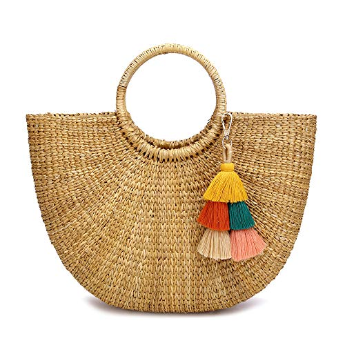 JOLLQUE Hand Woven Womens Beach Grass Tote Bags, Natural Straw Handbag Purse (Grass-7) ()