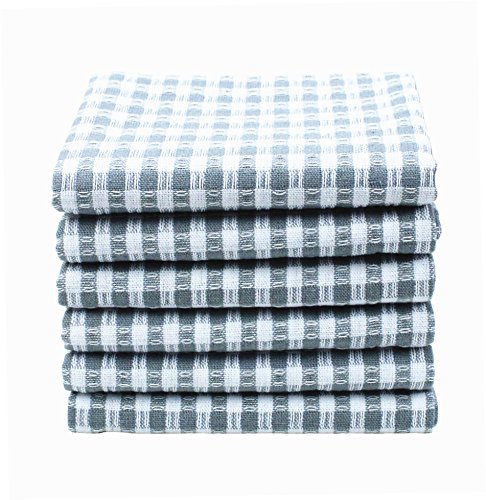6 Pack of 100% Pure Cotton Kitchen Dish Towels set Machine Washable, Ultra Absorbant Kitchen Dish Cloths, Tea Towels, Bar Towels Set by Jennice House (Grey Checks)