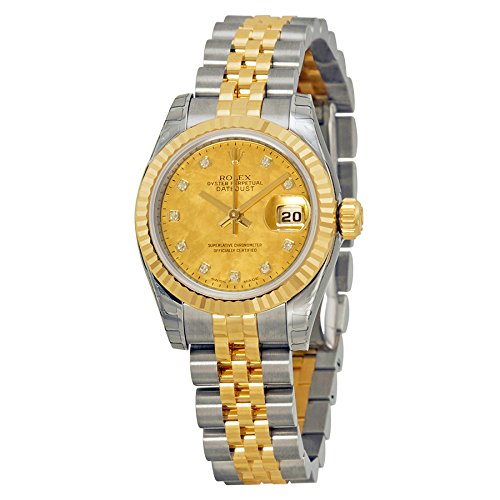 Rolex Lady Datejust Automatic Champagne Goldust Mother of Pearl Dial Stainless Steel 18kt Yellow Gold Ladies Watch 179173CGDMDJ