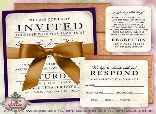 (10 Plum Purple Champagne & Burnt Sienna Metallic Jane Double-Layered Square Wedding Invitations Set)