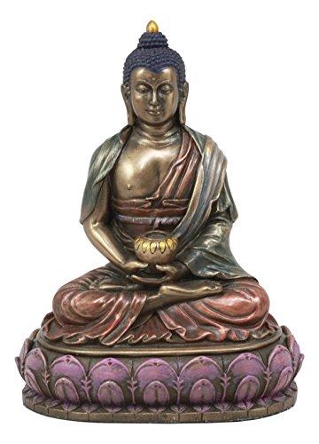 Ebros Eastern Enlightenment Meditating Buddha Shakyamuni On Lotus Throne Altar Statue 6